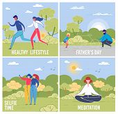 Outdoor Pastime Vector Social Media Banners Set. Healthy Lifestyle, Fathers Day, Selfie Time And Med poster