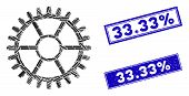 Mosaic Clock Wheel Pictogram And Rectangle 33.33 Percent Rubber Prints. Flat Vector Clock Wheel Mosa poster