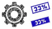 Mosaic Cog Pictogram And Rectangular 33 Percent Seal Stamps. Flat Vector Cog Mosaic Pictogram Of Sca poster