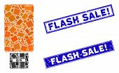 Mosaic Usb Flash Drive Icon And Rectangular Flash Sale Exclamation Seal Stamps. Flat Vector Usb Flas poster
