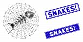 Mosaic Dead Fish Net Icon And Rectangular Snakes Exclamation Stamps. Flat Vector Dead Fish Net Mosai poster
