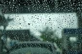 Close Up Of Drops Of Rain Water Running Down Clear Glass Window. Rain, Bad Weather Concept. Blurred  poster