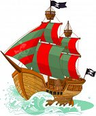 Navio pirata em fundo branco