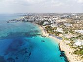 Cyprus Beautiful Coastline, Mediterranean Sea Of Turquoise Color. Houses On Mediterranean Coast. Tou poster