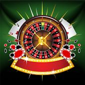 Casino gold-framed composition with roulette wheel on green background