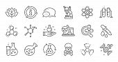 Chemistry Lab Line Icons. Chemical Formula, Microscope And Medical Analysis. Laboratory Test Flask,  poster