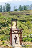 stock photo of hmong  - Hmong Minority Woman Across A Bridge To Rice Field - JPG