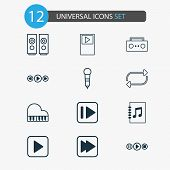 Audio Icons Set With Next Song, Repeat, Musical Device And Other Following Song Elements. Isolated V poster