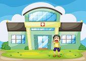 Illustration of a boy crying at hospital -