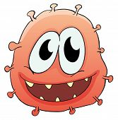 Illustration of a germ bug on white -
