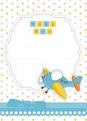 Cute baby boy airplane shower card