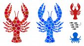Lobster Mosaic Of Small Circles In Variable Sizes And Shades, Based On Lobster Icon. Vector Small Ci poster