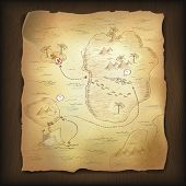 Treasure map on wooden background. Vector, EPS10