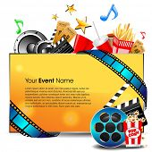 illustration of film stripe with entertainment object s and banner for your text on grey background.