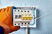 Consumer Unit Of Electrical Wiring Installation Which The Installed In Residential Home. An Electric poster