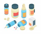 Drugs Pills Isometric. Pharmaceutical Healthcare 3d Items Emergency Doctor Tools For Clinic Medicati poster