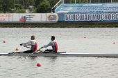 MOSCOW, RUSSIA - JUNE 9: Pair boat of Valeriy and Victor Plesak in sweep rowing competition during 51th International Grand Moscow Regatta in Moscow, Russia on June 9, 2012