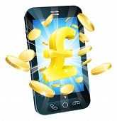 pic of tariff  - Pound money phone concept illustration of mobile cell phone with gold Pound sign and coins - JPG