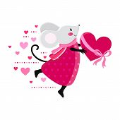 Happy Valentine S Day Cute Card Or Poster With A Vector Illustration. Funny Mouse With Red Or Pink H poster