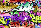 Graffiti wall. Urban art background. Seamless hip hop texture