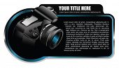 Black vector background element with realistic camera for brochure or shop