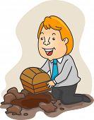 Illustration of a Businessman kneeling to bury a Treasure Chest in a pit