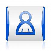 account blue square web glossy icon