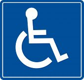 picture of handicap  - blue handicap parking or wheelchair accessible sign  - JPG
