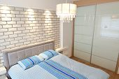 Modern luxury bedroom with decorative wall /  Hotel Room
