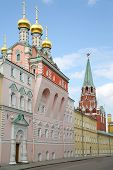 Kremlin church Mother of God Praise at spring day in Moscow, Russia.