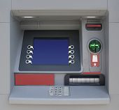 picture of automatic teller machine  - Automatic Teller Machine with Blank Screen - JPG