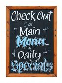 Cafe advertisement sign saying check out our main menu and daily specials, white background.