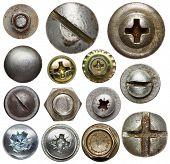 Screw heads, nuts, rivets.