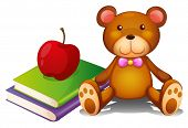 Illustration of an apple above the books and a huggable bear on a white background