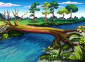 Illustration of a tree with algae at the river