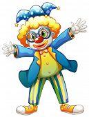 Beispiel für ein Clown mit einem bunten Kostüm auf weißem Hintergrund