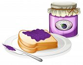Illustration of a slice bread and a bottle of grape jam on a white background