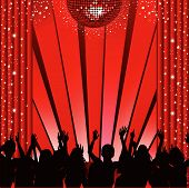 stock photo of curtains stage  - Theatre stage with curtains disco ball and spot lights with silhouette crowd clapping and cheering - JPG