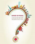 picture of continents  - question mark with tourism icons and elements - JPG