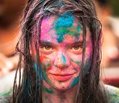 KUALA LUMPUR, MALAYSIA - MAR 31: Unidentified girl during Holi Festival of Colors, Mar 31, 2013 in Kuala Lumpur, Malaysia. Holi, marks the arrival of spring, being one of the biggest festivals in Asia