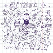 Tattoo vector set. Cartoon tattoo elements in funny style: anchor, dagger, skull, flower, star, heart, dices, bone, diamond, scull, pistol and cool bearded man. Doodle in exercise book style