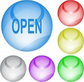 Open. Interface element. Raster illustration.