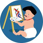 picture of beret  - Cute baby with mustache and in a beret painting with a big brush and easel - JPG