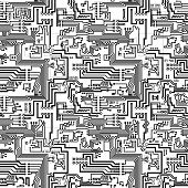 Circuit Board Vector Seamless Technological Pattern