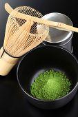 matcha, powdered green tea, japanese tea ceremony image