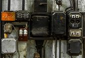 stock photo of fuse-box  - Industrial fuse box on the wall closeup photo - JPG