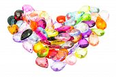 Colorful Plastic Beads Isolated On White Background Shape Of Heart.