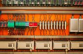 picture of fuse-box  - Industrial fuse box on the wall closeup photo - JPG