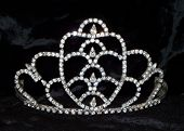 picture of pageant  - Crystal pageant tiara on black velvet cloth - JPG