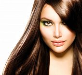 Hair. Beautiful Brunette Girl. Healthy Long Brown Hair. Beauty Model Woman. Hairstyle. Stylish Hairc